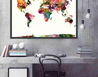 World Map Poster World Map Print Large World Map Home and Living Decor World Map Art World Map Wall Decor
