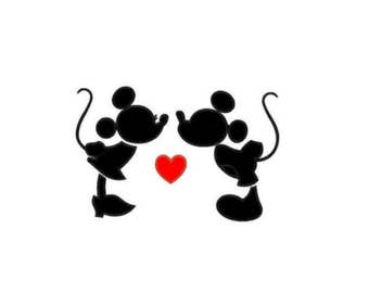 Minnie & Mickey Kissing Applique Design in 3 sizes - Instant Download