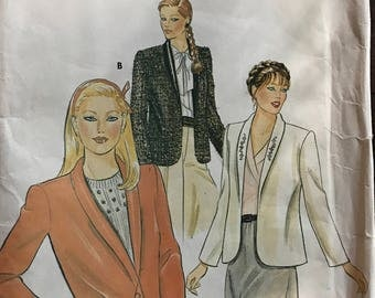 Butterick 4057 - 1970s or 80s Loose Fitting and Lined Shawl Collar Jacket with Single Button Closure or Open Front - Size 6 8 10