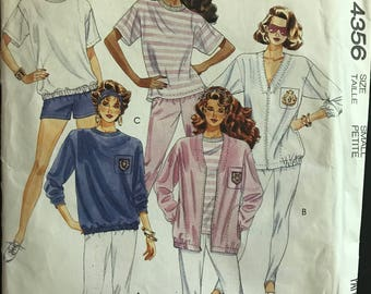 McCalls 4356 - 1980s Stretch Knit Jacket, Shirt, Pants, and Shorts - Size Small