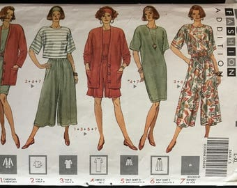 Butterick 5456 - 1990s Fast and Easy Separates with Cardigan, Tops, Dress, Culotte and Headband - Size L XL