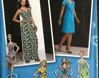 Simplicity 2359 - Project Runway Raised Waist Dress with V Neckline in Above Knee or Maxi Length - Size 12 14 16 18 20