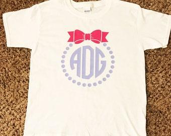 Kids Monogram Shirt / Bow Monogram Shirt / Monogram Shirt / kids bow /