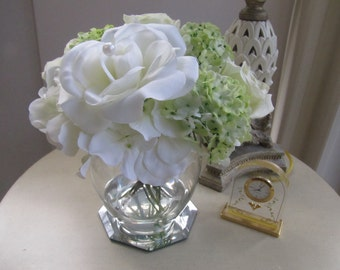 Wedding Centerpiece Beautiful  Silk Flower Arrangement -white,light green hydrangeas and white roses in Glass Vase with Faux Water