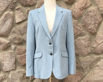 Vintage 70s-80s Robert Henry for Yeilding's Powder Blue Ultrasuede Blazer / Made in the USA / Women's Size Medium to Large
