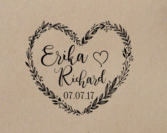 Wedding  Stamp Wreath Heart  Names  Wedding  Rubber Stamp Wood handle or  SELF INKING STAMPER Personalized Wedding  Stamp