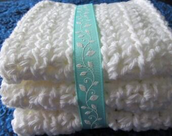 Hand Crocheted Washcloths White