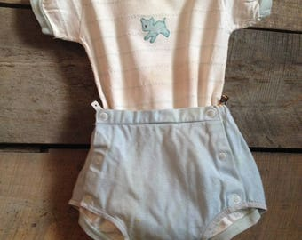Vintage 1950's Baby Onesie and Diaper Cover Blue Mouse