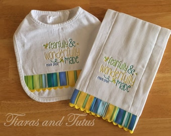 Burp Cloth and Bib, Gender Neutral Baby, Burp Cloth Set, Religious Baby Gift, Embroidered Burp Cloth, Gender Neutral Baby, New Baby Gift