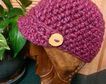 Newsboy Cap (Wild Strawberry) with Oak Buttons