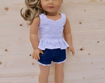 18 inch doll clothes AG doll clothes White Flower Peplum Top made to fit like American Girl doll clothes
