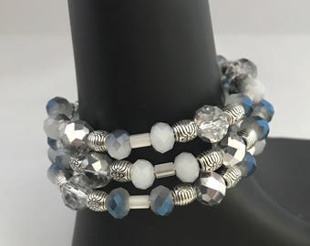 Blue bead bracelet, blue bracelet, bracelet blue, blue wrap bracelet, blue memory wire bracelet, silver wrap bracelet