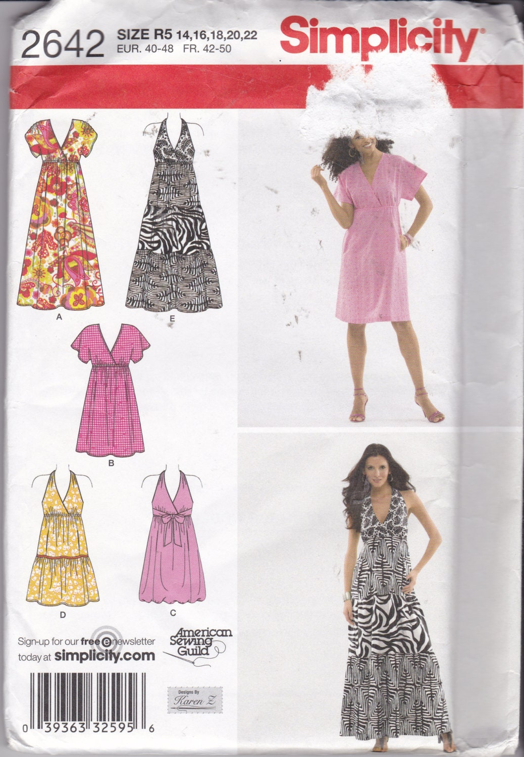 26382418c49e7 Simplicity 2642, NEW & UNCUT, Design's by Karen Z, dress pattern in sizes  14-22. Halter top dress or Kimono influence styling, summer dress from ...