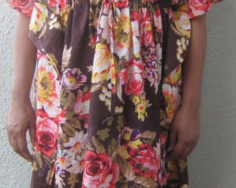 Maternity kaftan robe, COFFEE, cotton kaftan, feeding gown,hospital gown, maternity robe,delivery gown,floral kaftan,