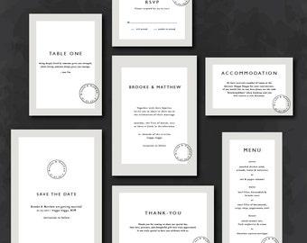 Invitation Suite | Rustic cream and white with stamp invitation | DIY invitations