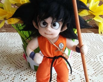 "Fabric Doll ""Son Goku"", 25 cm high, soft sculpture textile doll, handmade doll"