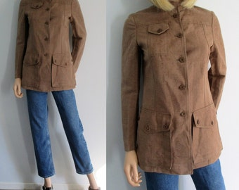 Brown military jacket coat, french retro vintage, single breasted, high grandad collar, fitted cut, textured, small