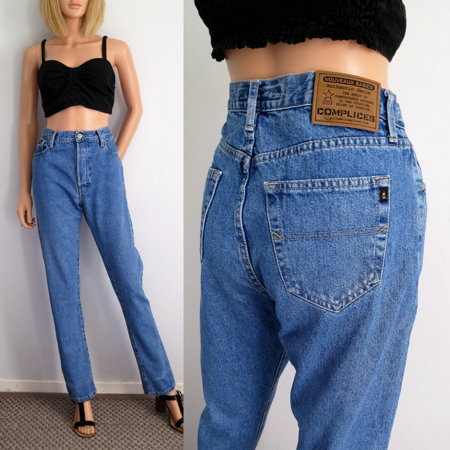 hohe taille jeans hose mama blau stonewashed jeans 90er. Black Bedroom Furniture Sets. Home Design Ideas