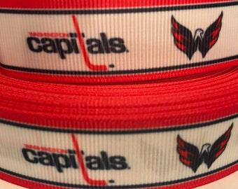 Capitals Hockey Ribbon- 7/8 inch Grosgrain Ribbon Washington Capitals Hockey Ribbon - Sports Ribbon - Hockey - Hockey Craft Supply