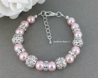 Swarovski Rosaline Pearl Bracelet, Pink Pearl Bracelet, Bridesmaid Bracelet, Bridesmaids Gift on a budget, Pink Pearl Jewelry, Blush Wedding