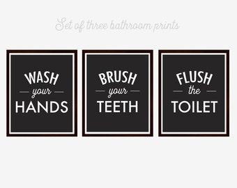 Bathroom Art, Wash Brush Flush, Bathroom Prints, Wash your Hands, Bathroom Instructions, Black and White