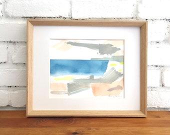 Abstracted Beach Scene, Original watercolor painting. Modern art, geometric, Ocean, watercolor, original art, neon, minimalism, abstract art