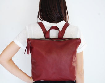 Burgundy leather backpack, backpacks, large backpack, everyday backpack, School backpack, back to school, Metropolitan backpack
