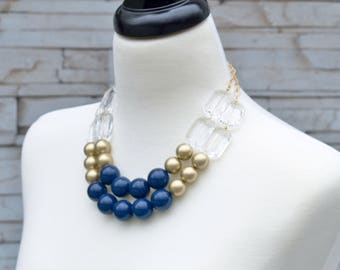 Mother's Day Necklace Gift - Navy Blue Statement Necklace - Beaded Fashion Bib Necklace - Affordable Jewelry Gift for Mom  Wife Girlfriend