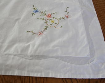 White Cotton Embroidered Pillow Sham, Floral /Flowers, Pillow Case, Shabby Chic, Cottage Charm, Shabby French