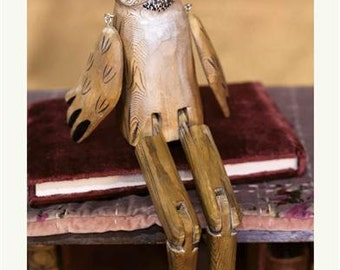 """Whittled Woodland Hand Carved Hoot Owl Shelf Sitter With Moveable Legs & Arms - 14"""""""