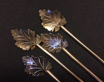 4 Sterling Mexican TAXCO Silver Mint Julep Iced Tea Straw Spoons 1960s Leaf Bowls Delicate Maple
