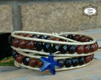 Wrap bracelet, brown leather bracelet, gypsy jewelry, handwoven bracelet, boho bracelet, obsidian jewelry, handmade jewelry, Bijoux Koùkla
