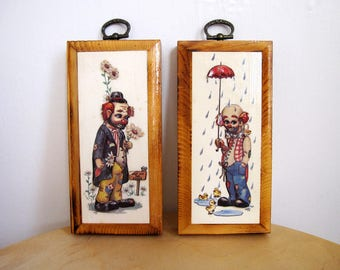 Vintage Pair Small Creepy Clowns Wall Wood Plaques Pair Wall Hanging Sad Clowns Circus 3D Dimensional