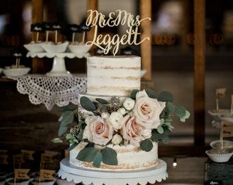 Elegant Calligraphy Custom Mr and Mrs Wedding Cake Topper-Gold