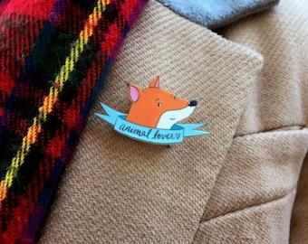 Fox Animal Lover Badge - Woodland Animals Pin - Natural World Banner Brooch - Illustrated Shrink Plastic Fox Pin - Fox Illustration Badge