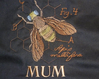 Bee Cushion Cover Embroidered Pillow Apiary Apiarist honey bee cotton