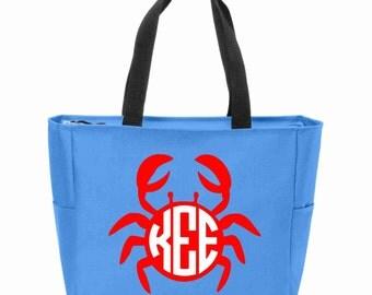 Crab Monogrammed Zip Tote