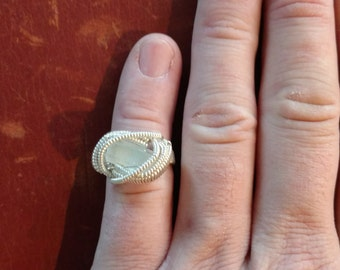 Aquamarine and Sterling Silver Wire Wrapped Ring Size 5.5