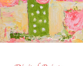 Pink Roses & Green Floral Art Painting Print. Greenery Flower Digital Prints. White Polka Dots. Birthday Gift for Her. 287