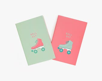 Roll Out Stitched Pocket Notebook Set Matte Green and Red w/ Blank and Lined Pages