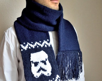 Hand knitted unisex ''Star wars'' hat & scarf set