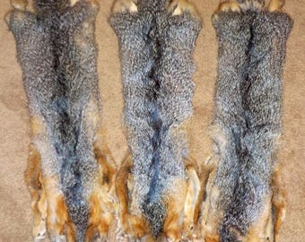 Tanned GRAY FOX Pelts with Feet
