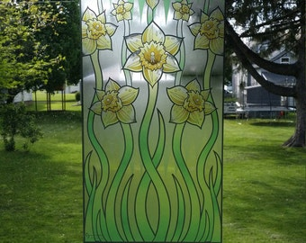 "Daffodils ""Stained Glass"" Style WINDOW CLING"