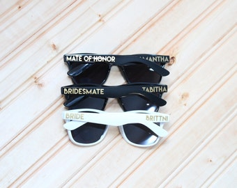 Bridesmate sunglasses - personalized - Mate of Honor - bachelorette party - wedding sunglasses - wedding favor - custom