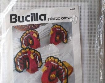 Vintage Bucilla Plastic Canvas Kit Turkey Napkin Rings