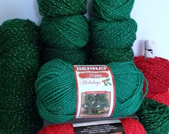 Red Heart Yarn With Glitter Bernat Christmas Yarn Sparkling Worsted Bundle of Yarn Destash Bright Green and Red with Gold & Silver Sparkles