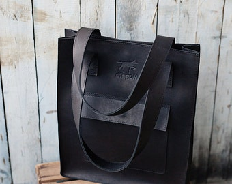 Leather tote bag, leather tote, genuine leather tote, leather tote bag with front pocket, black leather tote, handmade tote