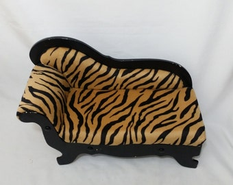 For Dolls ~ Leopard Print Chaise Lounge Fainting Couch for Medium to Large Composition or Porcelain Doll Display