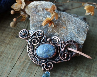 Shawl pin, fibula, pin, shawl brooch, wire wrapped brooch, blue pin, sweater pin, Swarowski, copper jewelry, wire wrapped pin, copper fibula