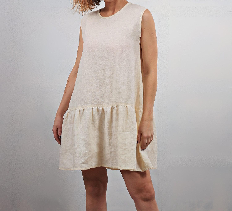 777b02d9659 1500 x 1364 www.etsy.com. Linen cream white summer mini dress for woman. by  LinenMile